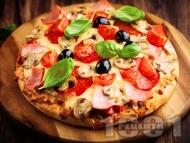 Пица с шунка, колбас, домати и маслини